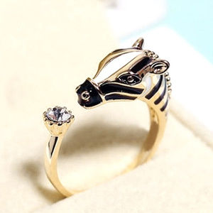 Silver open adjustable ring with horse motif NWOT